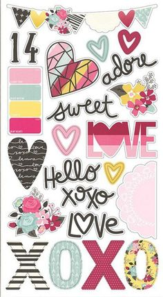 You can buy Simple Stories Collection Love & Adore Chipboard Stickers from Craftastic Cabin Inc. It includes 23 chipboard stickers with various designs. Scrapbooking Stickers, Paper Bag Scrapbook, Scrapbook Supplies, Scrapbooking Layouts, Scrapbook Templates, Scrapbook Sketches, Scrapbook Cards, Tumblr Stickers, Love Stickers