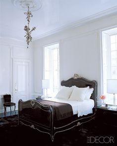 elle decor white walls black lucite bed