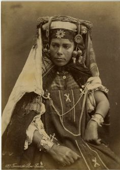 Africa | Bou Saada woman from Algeria.  ca. 1875 | Photographer unknown.