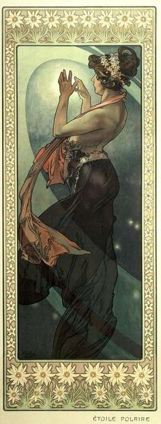 'Etoile Polaire',  (Pole Star) from the Moon and the Stars series, Alfons Mucha, 1902 | by Strings of Pearl's