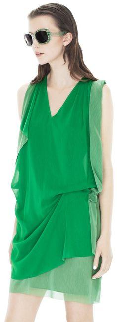 Mallory Contrast Green    Draping at opposite waist and shoulder    http://shop.acnestudios.com/shop/women/summer-dresses/mallory-contr-green.html