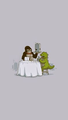 Crunchy Meal - iPhone wallpapers @mobile9 | #cartoon #cute #kingkong #godzilla