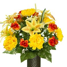 Yellow Stargazer and Peony with Orange Rose -- Click image to review more details.