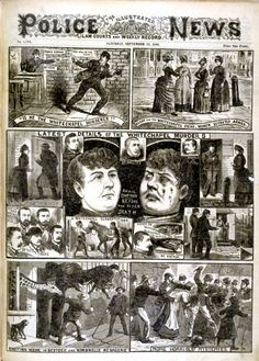 1888 Newspaper report on the 'Whitechapel murderer' aka Jack the Ripper. The Illustrated Police News, 1888