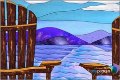 Chairs on the shore stained glass pattern, intermediate skill level