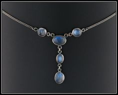 Vintage Sterling Silver & Moonstone Necklace by TrademarkAntiques