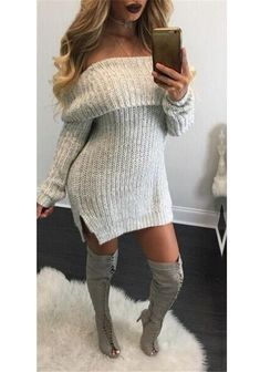 d169424f56c Light Grey Side Slit Slouchy Off Shoulder Backless Long Sleeve Sweater Mini  Dress Knit Sweater Dress