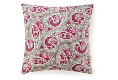 Swirl Paisley 20x20 Cotton Pillow, Pink