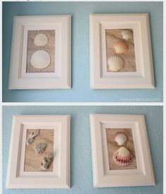 DIY Framed Shell Art - use sandpaper for the background to look like sand