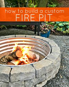 Learn how to build a beautiful custom backyard fire pit for any size yard! Make memories with bonfires s'mores roasted marshmallows and more. This tutorial teaches you how to build your own fire pit! Learn how to build a How To Build A Fire Pit, Diy Fire Pit, Fire Pit Backyard, Backyard Patio, Fire Pit Next To Pool, Fire Pit Size, Camping Fire Pit, Bonfire Pits, Fire Pit Plans