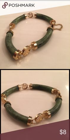 Small faux jade bracelet This is a ladies small faux jade bracelet with gold colored embellishments Jewelry Bracelets