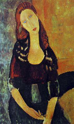PORTRAIT DE JEANNE HEBUTERNE Jeanne Hébuterne naquit à Paris en 1898. Elle était étudiante dans la classe de croquis où elle rencontra Modigliani. Elle avait des dons considérables. De 1917 jusqu'à son suicide le lendemain de la mort de Modigliani elle posa pour lui à plusieurs reprises. Jeanne était petite et maigre. Elle était surnommée Haricot Rouges à cause de ses cheveux qui étaient châtain avec des lueurs rougeoyantes et d'ordinaire coiffés en un haut chignon. Un autre surnom, Noix de…