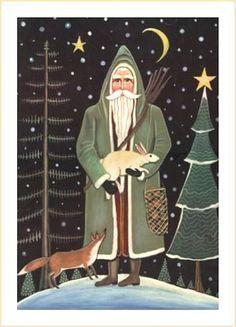WOODLAND SANTA PRINT - fox and rabbit signed Christmas Print - Wendy Presseisen Art - Old Fashioned Santa Claus on Etsy, $14.00