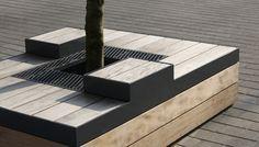 Streetfurniture, Straatmeubilair / Boombanken voor nieuwe stadhuis Gouda. Designed by Bureau Stoep.