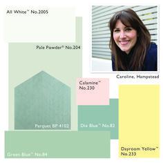 Farrow and Ball colour scheme: Pale Powder, Calamine, Dayroom Yellow, Dix Blue, Green Blue