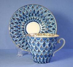 Russian Lomonosov Porcelain FORGET ME NOT Cup and Saucer Set