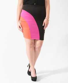 Colorblock Curve Stitch Skirt | FOREVER21 PLUS -A great way to incorporate those trending neon colors into my wardrobe this summer!  Plus Size clothing from forever 21 really make me feel great, #inmyskin!