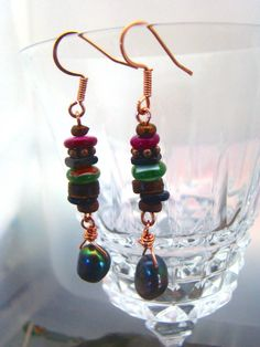 Black Pearl Bohemian Style Earrings All Handmade Components Copper Wire Wrap