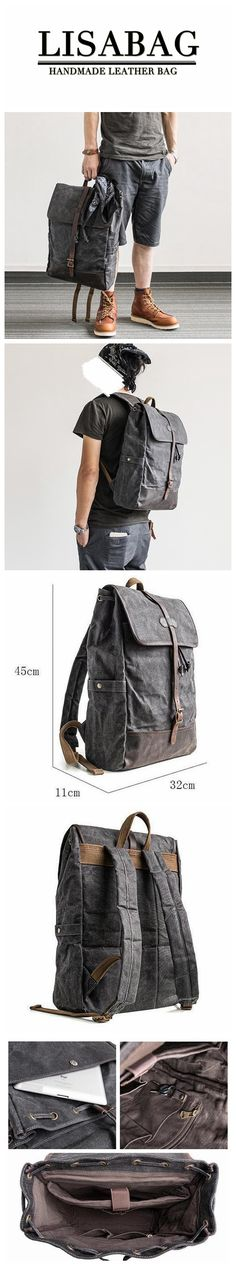 Vintage Handmade Waxed Canvas School Backpack Casual Travel Backpack 15'' Laptop Backpack MBL03