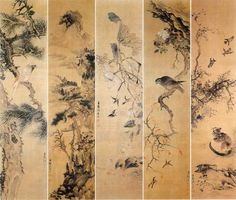(Korea) Folding Screens by Jang Seung-eop (1843-1897). ca 19th century CE. colors on paper.