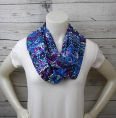 Blue and Purple Print Infinity Scarf