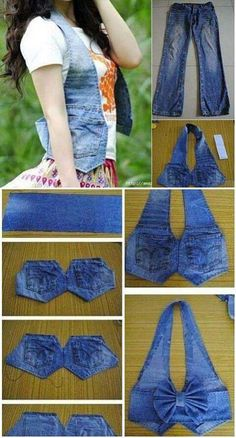 Weste aus alten Jeans DIY – Clever Refashion Minus the Bow! Chaleco De Jeans viejos - DIY Waistcoat using old jeans Waistcoat Out of Old Jeans – DIY Now do this with bleached and dyed jeans and add studs. İsim: Görüntüleme: 2424 Büyüklük: KB (K Diy Old Jeans, Recycle Jeans, Reuse Recycle, Recycling, Diy Clothing, Sewing Clothes, Sewing Tutorials, Sewing Patterns, Bag Patterns