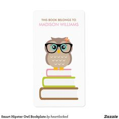 Smart Hipster Owl Bookplate Label