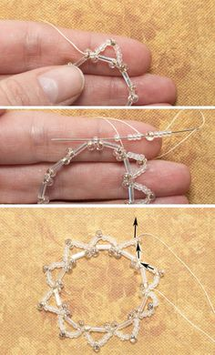 Beaded Netting Holiday Ornament Cover: Stitch the First Round of Horizontal Netting
