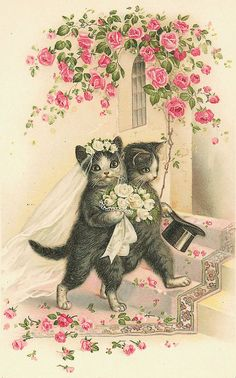 Vintage Cats Wedding Cross Stitch Pattern PDF