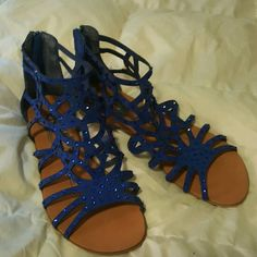 Royal blue gladiator sandals Royal blue with blue rhinestones rock candy Shoes Sandals