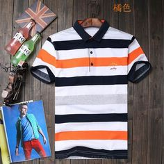 Paul Shark Striped Signature Logo Polo Shirts Short Sleeved Tipped Collar  Navy Orange bf26fd639f0
