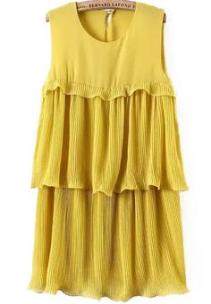Sleeveless Ruffle Chiffon Yellow Dress