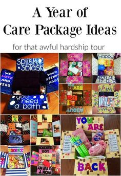 A Year Of Care Package Ideas For That Awful Hardship Tour Finding Mandee Here Is A List Of 12 Care Package Ideas To Get You Through Deployment. Camp Care Packages, Birthday Care Packages, Deployment Care Packages, College Care Packages, Military Care Packages, Care Package College, Missionary Care Packages, Boyfriend Care Packages, Care Package Ideas For Boyfriend Just Because