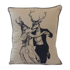 These gaily dressed, vintage-inspired deer make quite a couple against the soft neutral upholstery of this pillow. Use it to bring a rustic, but thoroughly fun new charm to the family room.  Find the Hold Me Deer Pillow, as seen in the Vintage Barn Wedding Collection at http://dotandbo.com/collections/vintage-barn-wedding?utm_source=pinterest&utm_medium=organic&db_sku=100534
