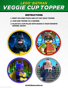 A nice helping of veggies is just ONE of my secrets to saving Gotham every day. Lots of money is the most important secret, but veggies are high on the list. http://pdl.warnerbros.com/wbol/ww/movies/legobatman/pinterest/LEGB_PartyBoard_VeggieCupTopper_GroupofFour_v1_Print.pdf | The LEGO® Batman Movie | In theaters now