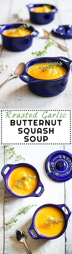 Roasted Garlic Butternut Squash Soup - a delicious fall recipe with roasted garlic as the king ingredient! Nutrient dense, easy to make, healthy and clean! (with VIDEO!)
