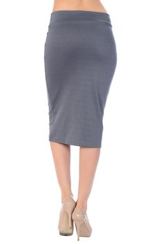 Pencil skirt with a great length that covers the knee nicely, makes appropriate for any of occasion from office wear to casual night out! - Polyester 95%, Spandex 5% - Flexible elastic waistband makes
