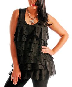 Another great find on #zulily! Black Eyelet Tiered Tunic - Plus #zulilyfinds