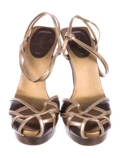 ce6bade5f2cd Gold metallic leather Chloé slingback sandals with brown leather trim