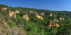 Rock formations at forest (Green), Gignac, Vaucluse, Luberon, Provence-Alpes-Cote D'Azur, France Poster Print (36 x 12)