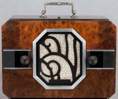Art Déco - Poste de Radio - Chrome et Bois Imitation - Emerson