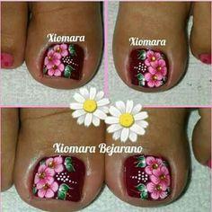 Pretty Toe Nails, Pretty Toes, Cute Nails, Toe Nail Color, Toe Nail Art, Nail Colors, Toenail Art Designs, Pretty Designs, Flower Nails
