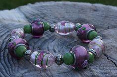 Stretch Glass Beaded Bracelet by CreationsBySJLeo on Etsy, $15.00