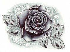 black and grey rose with drops by ~ZeroMarla on deviantART. I like ...