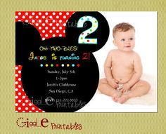 Mickey Mouse Birthday Invitation - FREE thank you card included. $10.00, via Etsy.