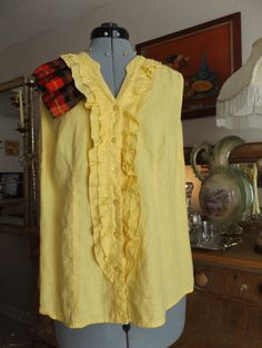 Yellow Ruffled Front Button Down Blouse With by MissPoppysFancy