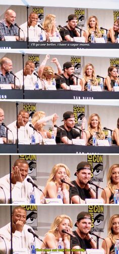 oliver are you going to be a billionaire again? - arrow cast at comic con