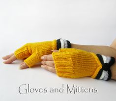 Arm warmers – Fingerless Knitted Hand Warmers, Yellow gloves. – a unique product by GlovesAndMittens on DaWanda