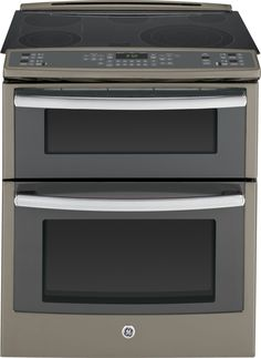 "Profile 30"" Slate Electric Slide-In Smoothtop Double Oven Range - Convection"