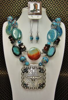 Blue / Brown / Black Rodeo Chunky Western Statement Longhorn Cowgirl Necklace  3 PC. SET - RuGGed RaDiaNCe